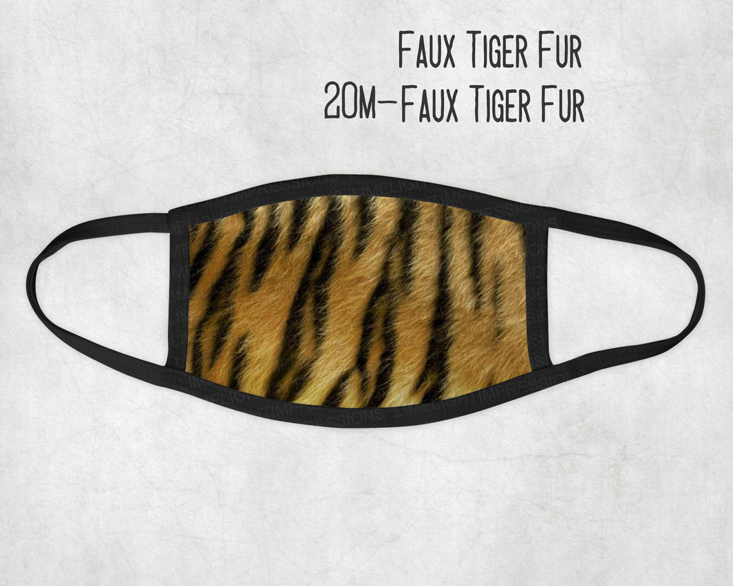 Made in the USA- Faux Tiger Fur Face Mask, Animal fur mask, Zoo Animal Mask, Fun face masks, Adult Mask, Mask for Kids, Matching Masks,