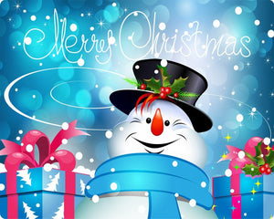 Merry Christmas Aluminum Sign Featuring Frosty the Snowman #4