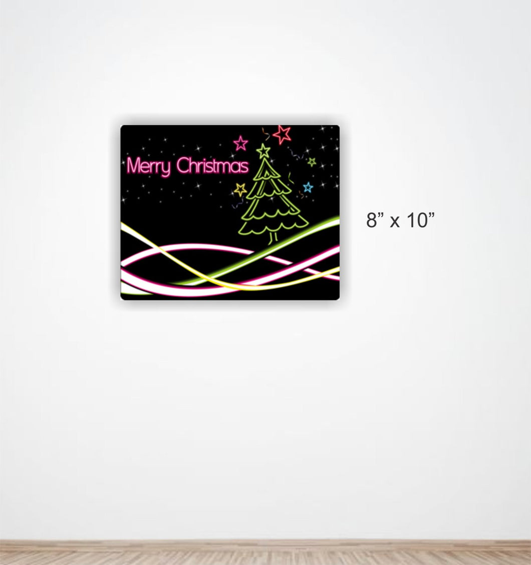 Neon Colored Merry Christmas Aluminum Sign Featuring Christmas Tree #3