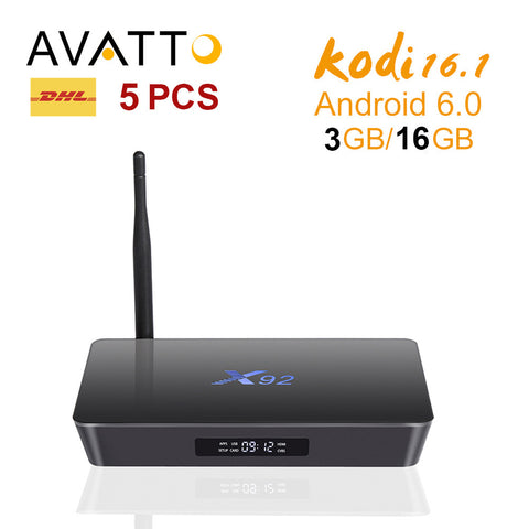 5pcs X92 3GB/16GB Android 6.0 Smart TV Box Amlogic S912 - The TV Box Professionals