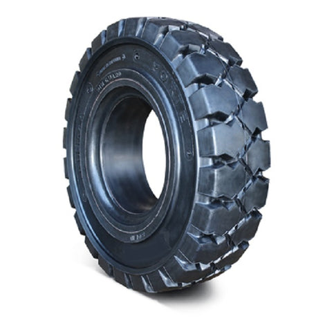 "Solid Resilient Forklift Tires 28x12.5-15 - 9.75"" Rim Width - Industrial Rubber Tires"
