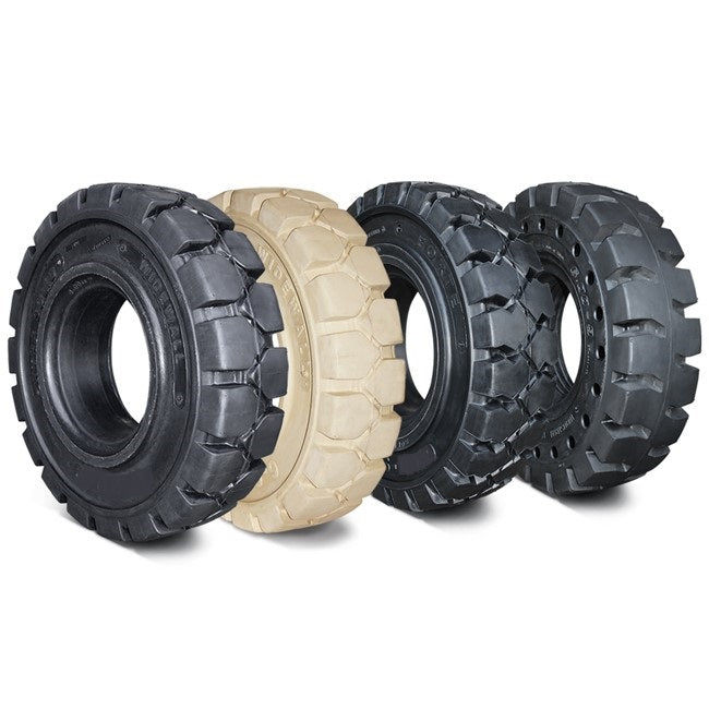 """Solid Resilient Forklift Tires 23x10-12 - 8"""" Rim Width   Solid Tires   Industrial Rubber Tires"""