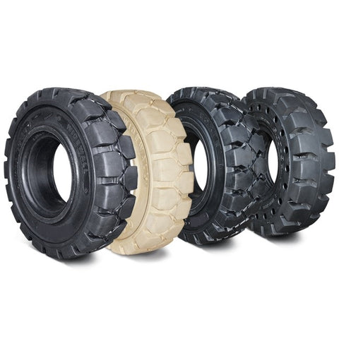 "Solid Resilient Forklift Tires 6.50x10 - 5.0"" Rim Width - Industrial Rubber Tires"