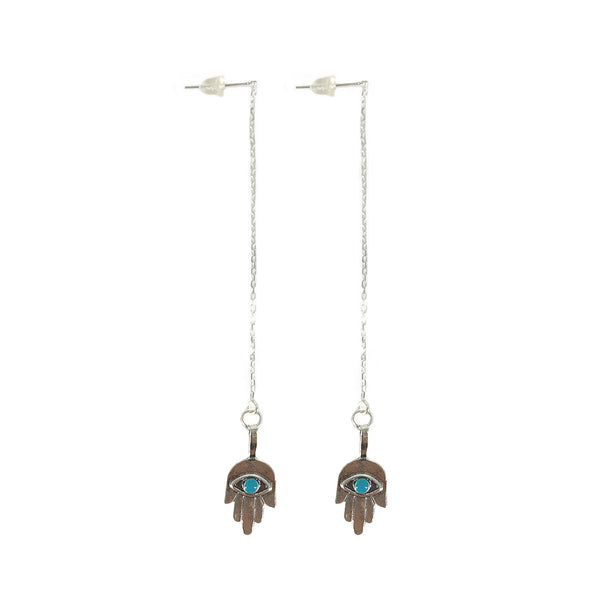Krystie Salabak Handmade Turquoise and Sterling Silver Hamsa Earrings - Good Tidings