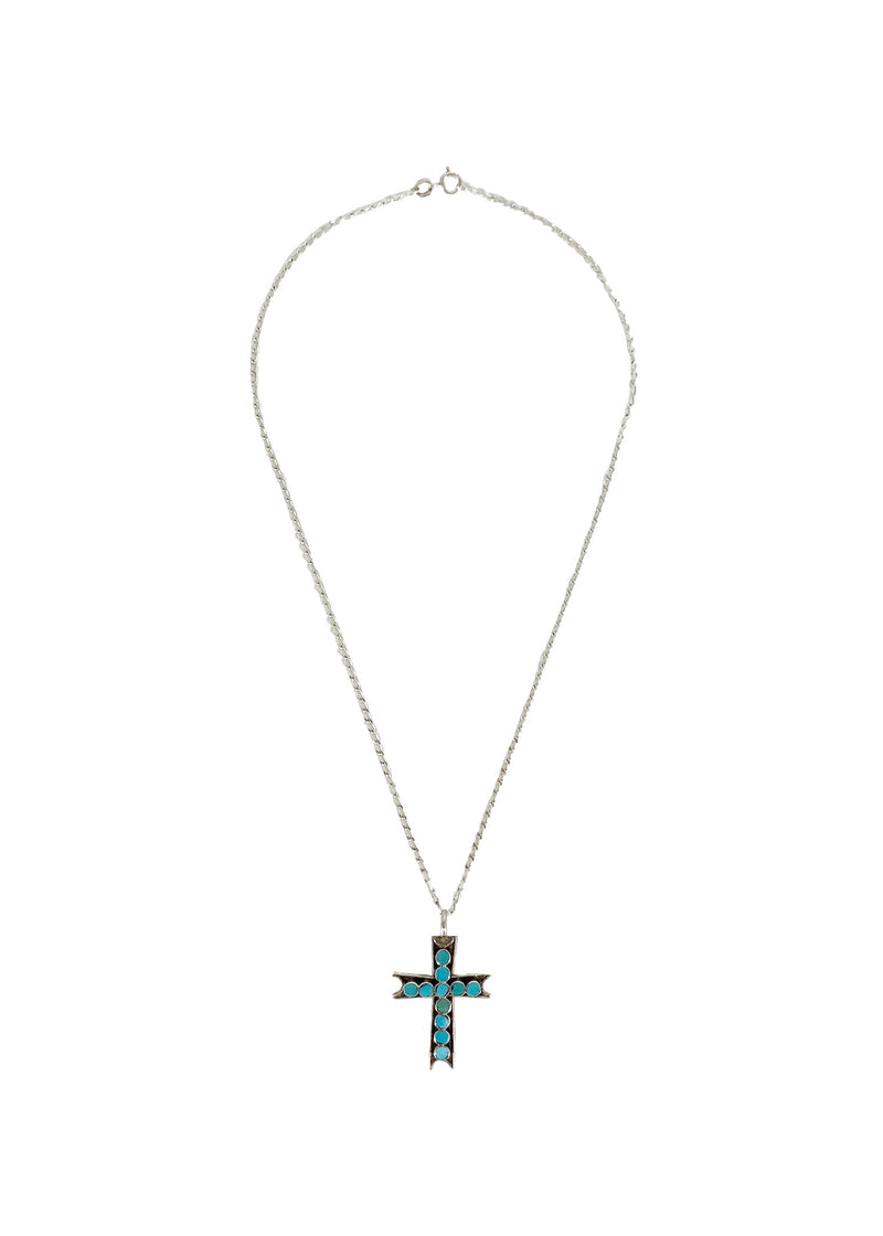 Cross Sterling Silver and Turquoise Santa Clarita necklace - Good Tidings