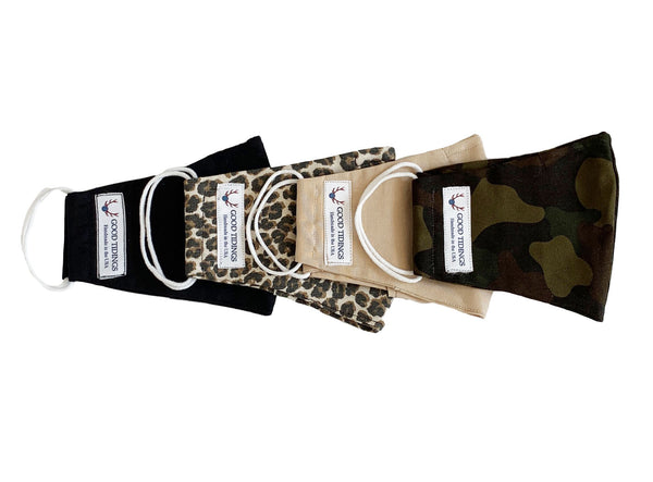 Adult Masks - Set of 4 - Black, Leopard, Tan, Camo