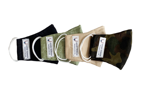 Kids Masks - Set of 4 -  Black, Olive Green, Tan, Camo