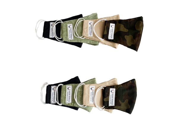 Adult and Kids Mask - Matching Set of 8 - Outdoor Set (Black, Olive Green, Tan, Camo)