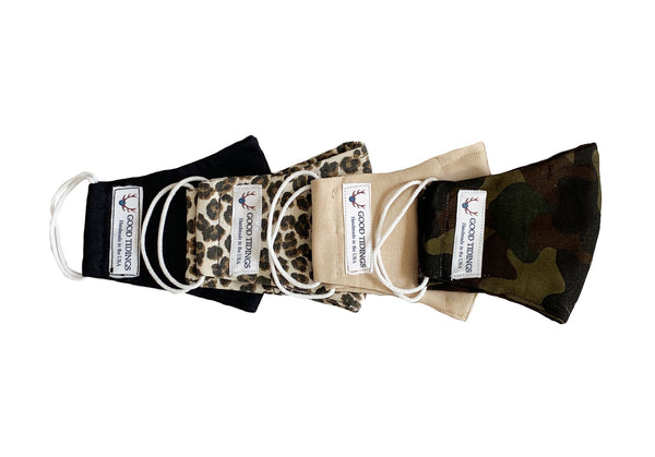 Kids Masks - Set of 4 -  Black, Leopard, Tan, Camo