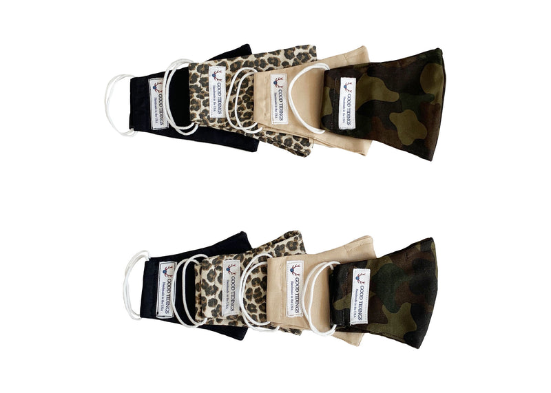 Adult and Kids Mask - Matching Set of 8 - Safari Set (Black, Leopard, Tan, Camo)