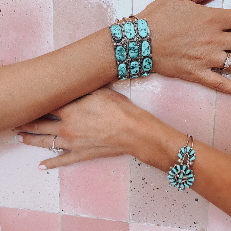 Abiquiu Turquoise and Sterling Silver Cuff Bracelet-Bracelet-Good Tidings