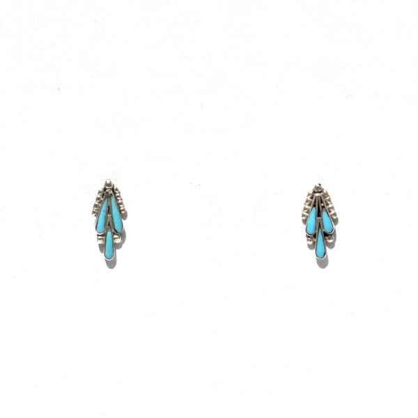 Cactus Sterling Silver and Turquoise Earrings-Earrings-Good Tidings