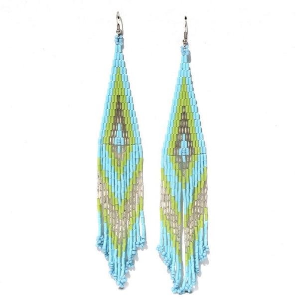 Caftan Beaded Boho Earrings - Aqua-Earrings-Good Tidings