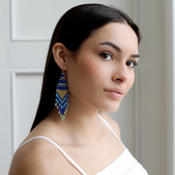 Encuentro Beaded Boho Earrings - Royal Blue-Earrings-Good Tidings