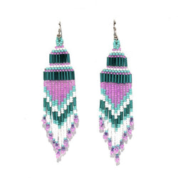 Encuentro Beaded Boho Earrings - Teal-Earrings-Good Tidings