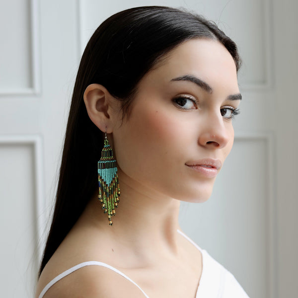 Encuentro Beaded Boho Earrings - Turquoise-Earrings-Good Tidings
