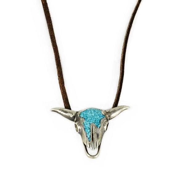 Georgia O'Keeffe Pendant Necklace in Sterling Silver and Turquoise-Necklace-Good Tidings