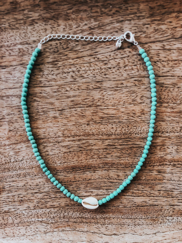 Krystie Salabak Turquoise, Shell and Sterling Silver Necklace - Good Tidings