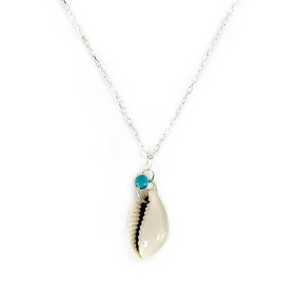 Krystie Salabak delicate Shell, Sterling Silver and Turquoise Necklace-Necklace-Good Tidings