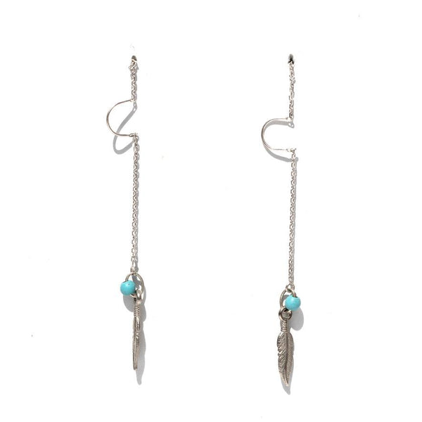 Krystie Salabak Handmade Turquoise and Sterling Silver feather earrings.-Earrings-Good Tidings