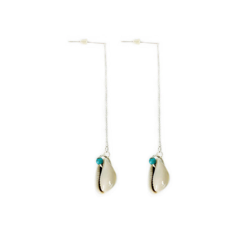 Krystie Salabak Handmade Turquoise, Shell and Sterling Silver chain earrings-Earrings-Good Tidings
