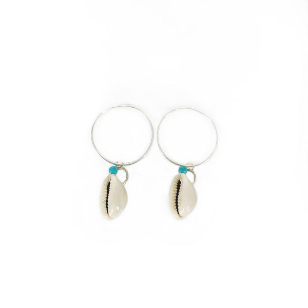 Krystie Salabak handmade Turquoise, Shell and Sterling Silver Hoop Earrings-Earrings-Good Tidings