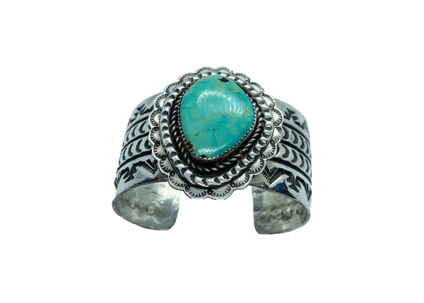 Pecos engraved Turquoise and Sterling silver bracelet-Bracelet-Good Tidings