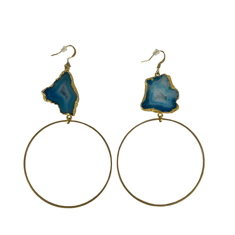 Salida Gold and Turquoise Hoop Earrings-Earrings-Good Tidings