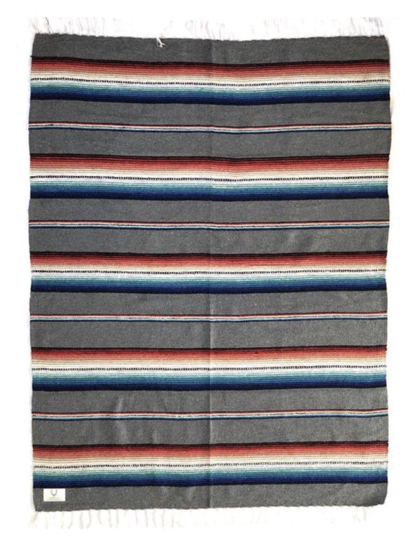 Santa Fe Navajo Style Blanket Grey-Blankets-Good Tidings