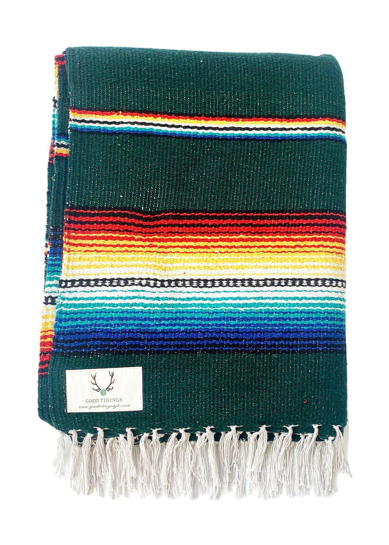 Santa Fe Navajo Style Blanket Hunter Green-Blankets-Good Tidings