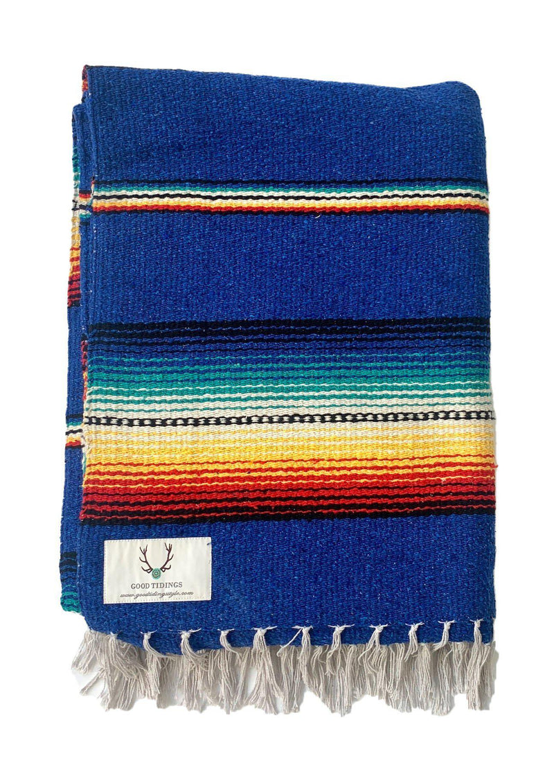 Santa Fe Navajo Style Blanket Royal Blue-Blankets-Good Tidings