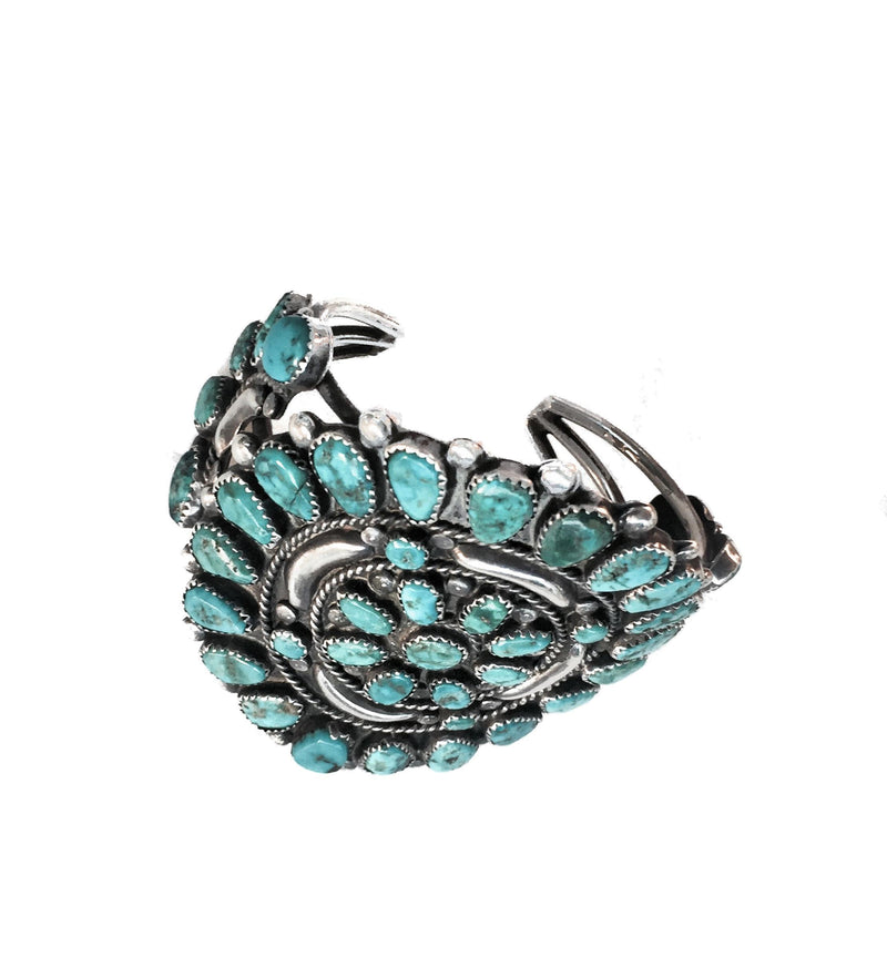 Spiritual Flower Vintage Turquoise and Sterling silver bracelet-Bracelet-Good Tidings