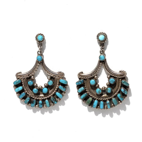 Vintage Turquoise and Sterling Silver half moon earrings-Earrings-Good Tidings