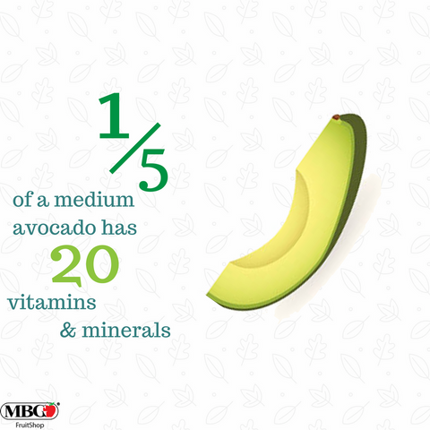 1/5 of a medium avocado has 20 vitamins & minerals