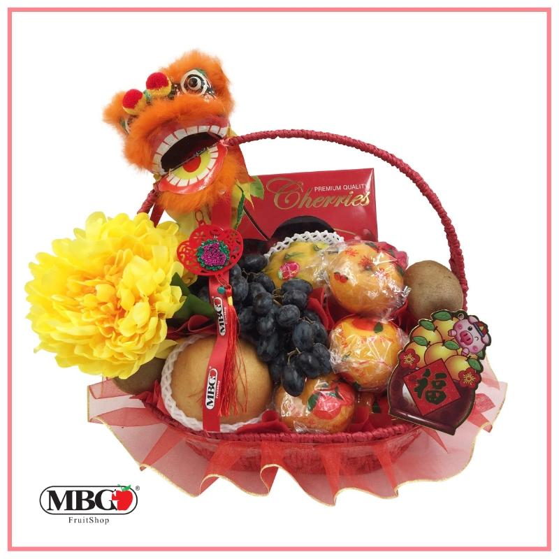 CNY Dancing Lion Fruit Basket (7 Types of Fruits)-CNY Basket-MBG Fruit Shop