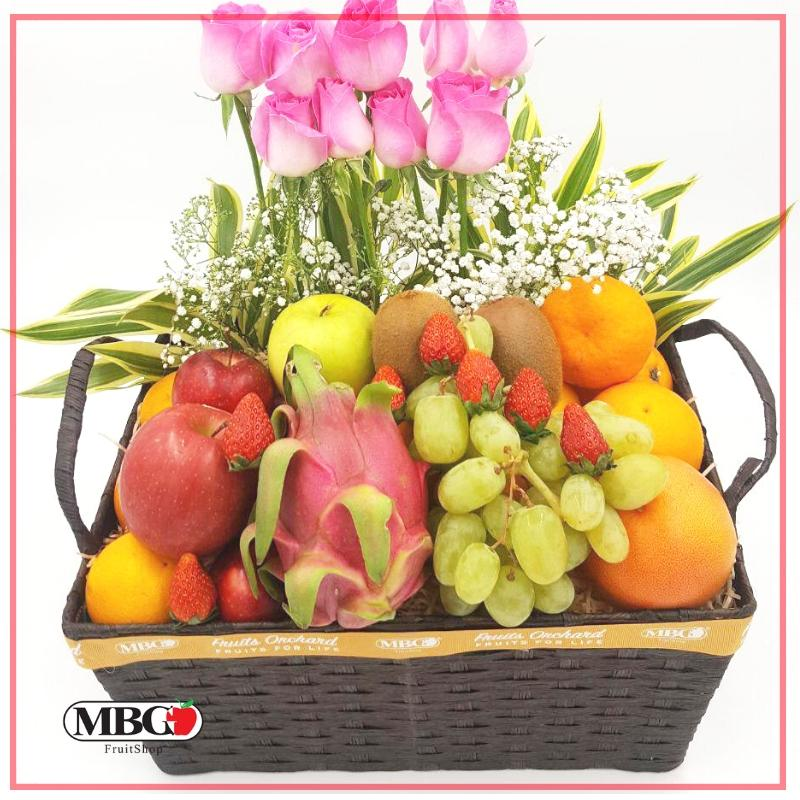FruitsOrchard - Flower Fruit Basket FB3 (7 Types of Fruits)-Fruits Orchard-MBG Fruit Shop