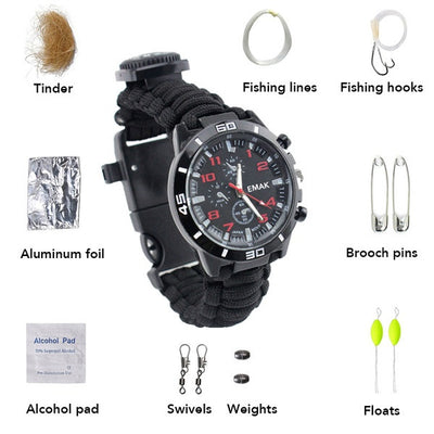 Multifuctional Compass Fishing Survival Watch Gear Bangle Parachute Cord Outdoor Survival Kit-Ridge Line Survival Gear