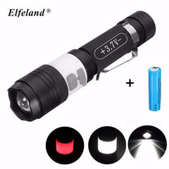 Elfeland XM-L T6 2000 Lumens Zoomable LED Flashlight-Ridge Line Survival Gear