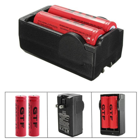 1x Double Charger 18650 + 2x 18650 Rechargeable Batteries / Double Charger + Batteries-Ridge Line Survival Gear