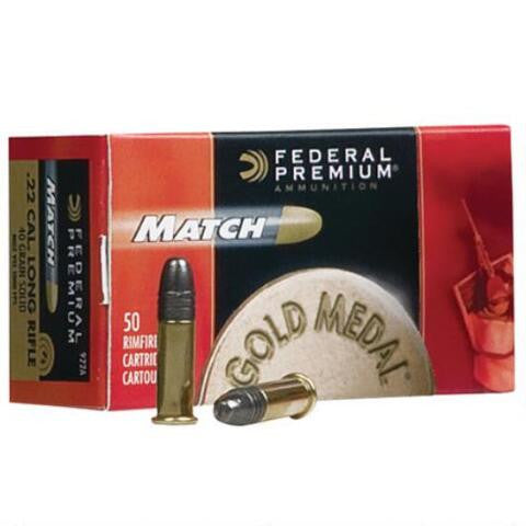 Federal .22LR Ammunition 50 Rounds, Gold Medal LRN, 40 Grains