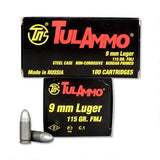 TulAmmo 9mm Ammunition 100 Rounds, FMJ, 115 Grains - 2 Boxes