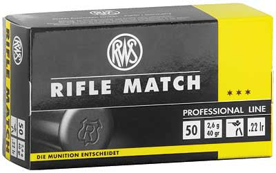 RWS Rifle Match .22 LR 40 Grain Lead Round Nose 1082 fps 50 Round Box