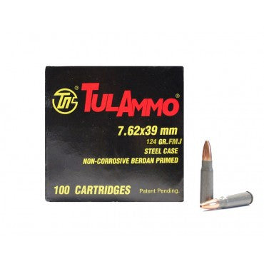 TulAmmo 7.62x39mm Ammunition 100 Rounds, Steel Case FMJ 124 Grains