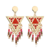 Candy Color Tassel Beads Dangle Earrings