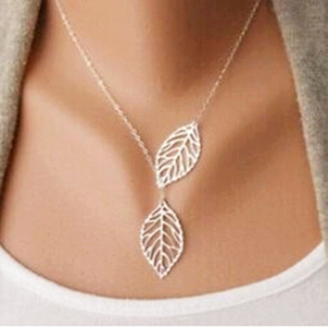 Sliver Two Leaf Pendant Necklace