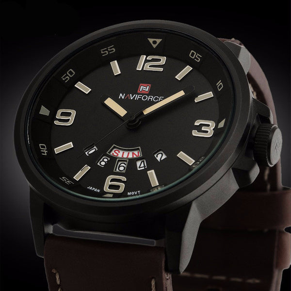 Leather Strap Military Army Waterproof Wristwatch