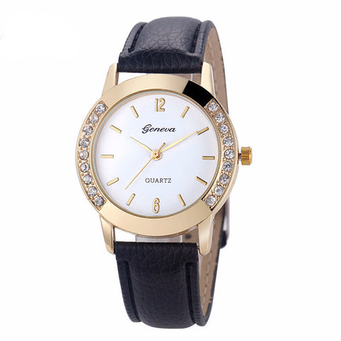 Ladies Luxury Diamond Leather Quartz Watch