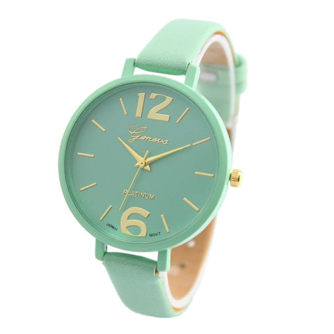 Geneva Leather Strap Women Watches