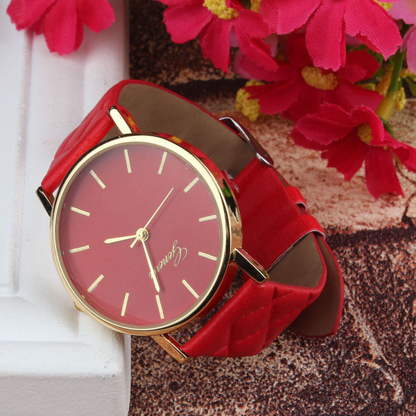 Geneva Watch Plaid Leather Wristwatch