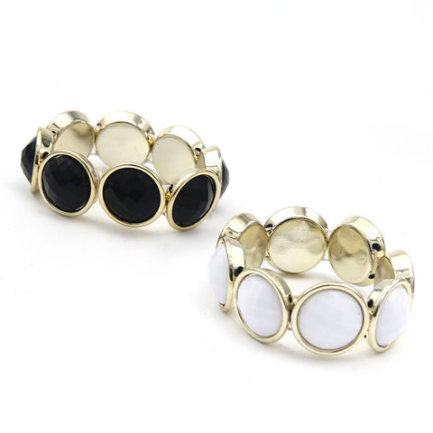 Round Black and White Gem Bracelets